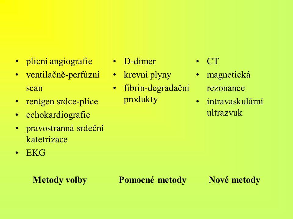 plicní angiografie ventilačně-perfúzní scan rentgen srdce-plíce echokardiografie pravostranná srdeční katetrizace EKG Metody volby D-dimer krevní plyn