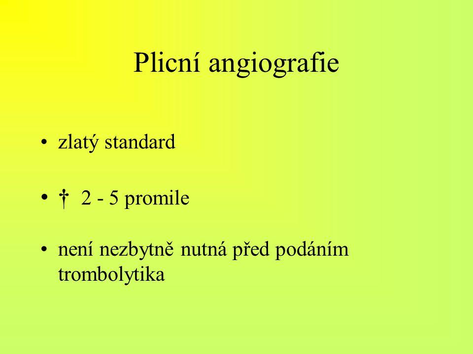 Plicní angiografie zlatý standard † 2 - 5 promile není nezbytně nutná před podáním trombolytika