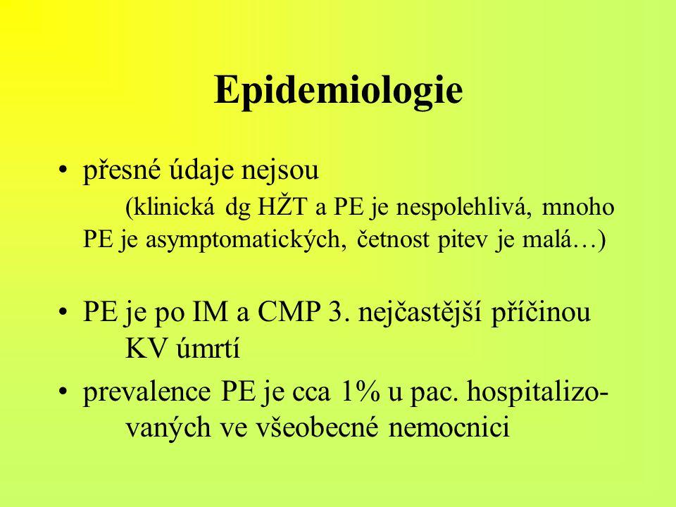 Epidemiologie přesné údaje nejsou (klinická dg HŽT a PE je nespolehlivá, mnoho PE je asymptomatických, četnost pitev je malá…) PE je po IM a CMP 3. ne