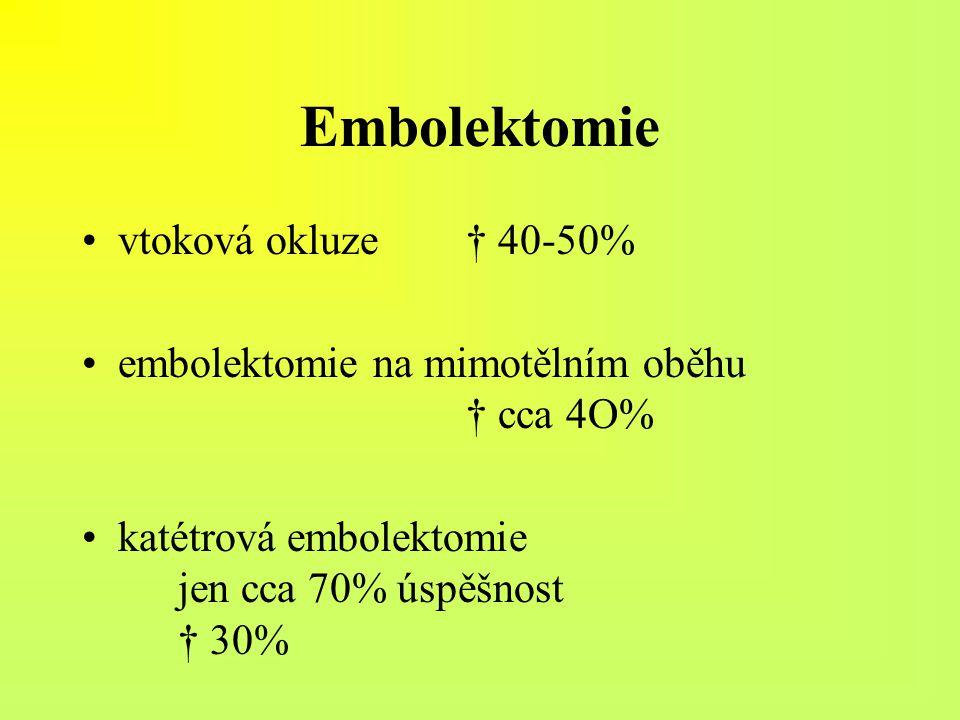 Embolektomie vtoková okluze† 40-50% embolektomie na mimotělním oběhu † cca 4O% katétrová embolektomie jen cca 70% úspěšnost † 30%