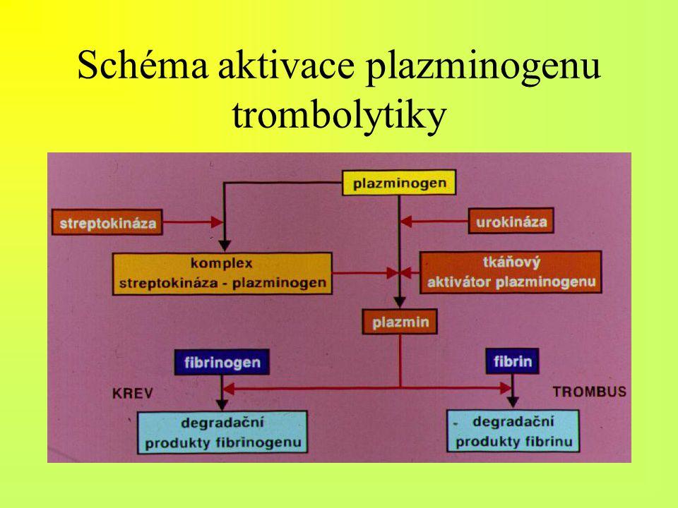 Schéma aktivace plazminogenu trombolytiky