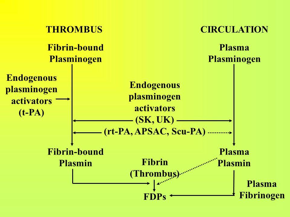 THROMBUS CIRCULATION Fibrin-bound Plasminogen Fibrin-bound Plasmin Plasma Plasminogen Plasma Plasmin Fibrin (Thrombus) FDPs Plasma Fibrinogen Endogeno