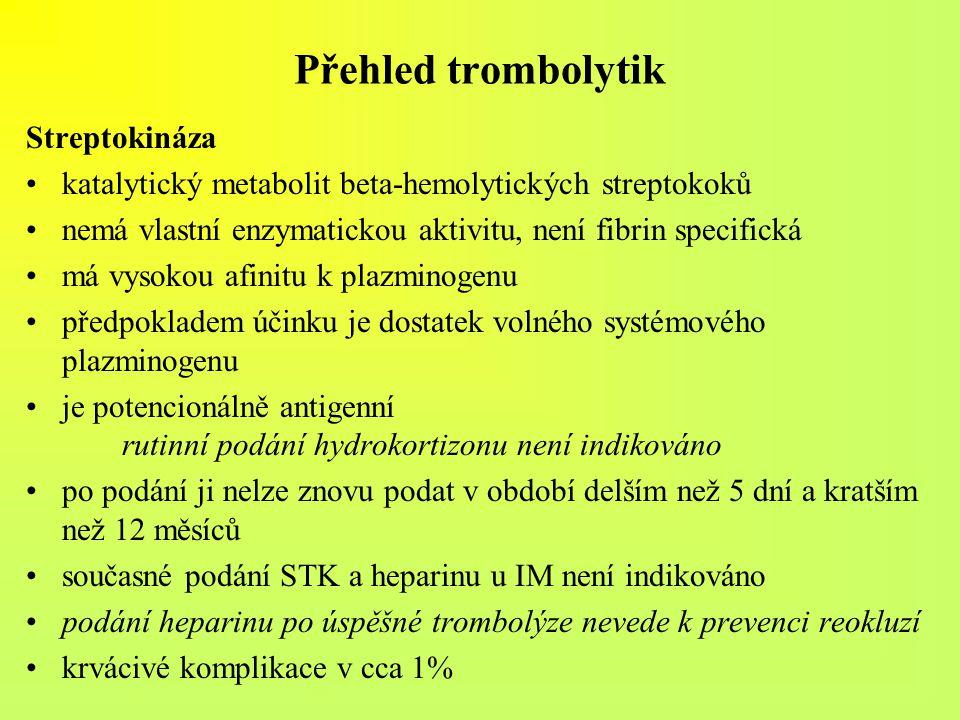 Přehled trombolytik Streptokináza katalytický metabolit beta-hemolytických streptokoků nemá vlastní enzymatickou aktivitu, není fibrin specifická má v
