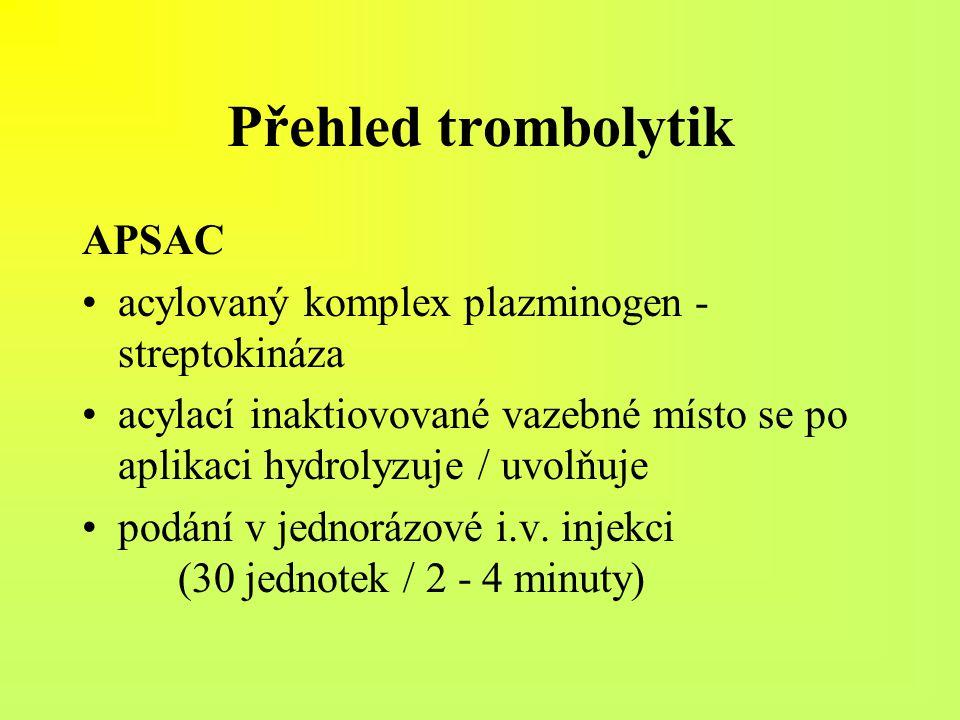 Přehled trombolytik APSAC acylovaný komplex plazminogen - streptokináza acylací inaktiovované vazebné místo se po aplikaci hydrolyzuje / uvolňuje podá