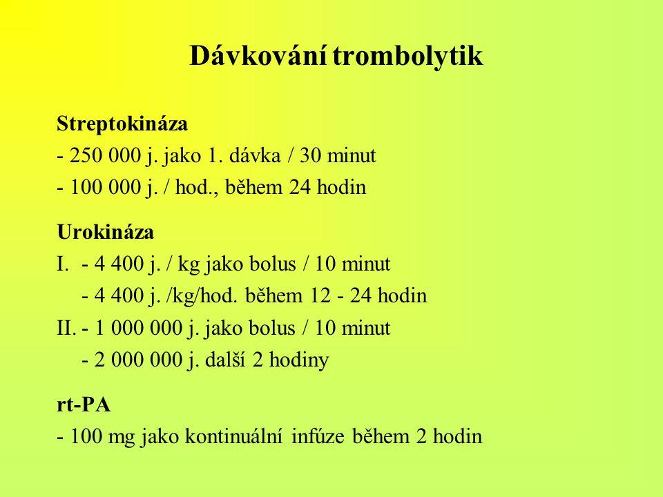 Dávkování trombolytik Streptokináza - 250 000 j. jako 1. dávka / 30 minut - 100 000 j. / hod., během 24 hodin Urokináza I.- 4 400 j. / kg jako bolus /