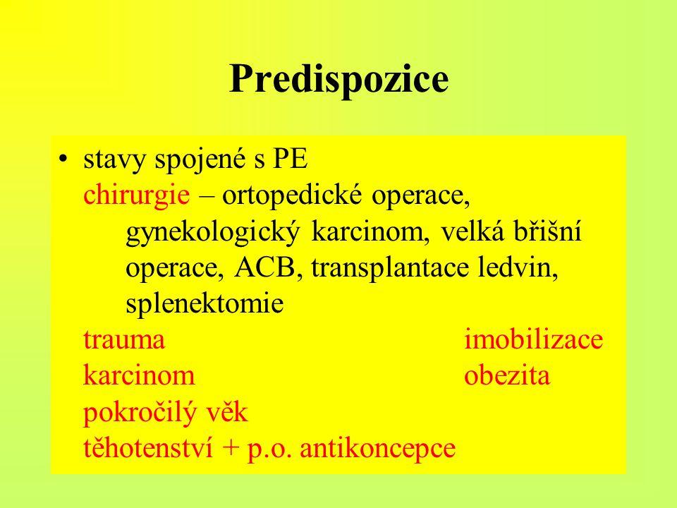 Predispozice stavy spojené s PE chirurgie – ortopedické operace, gynekologický karcinom, velká břišní operace, ACB, transplantace ledvin, splenektomie