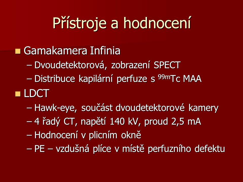Přístroje a hodnocení Gamakamera Infinia Gamakamera Infinia –Dvoudetektorová, zobrazení SPECT –Distribuce kapilární perfuze s 99m Tc MAA LDCT LDCT –Hawk-eye, součást dvoudetektorové kamery –4 řadý CT, napětí 140 kV, proud 2,5 mA –Hodnocení v plicním okně –PE – vzdušná plíce v místě perfuzního defektu