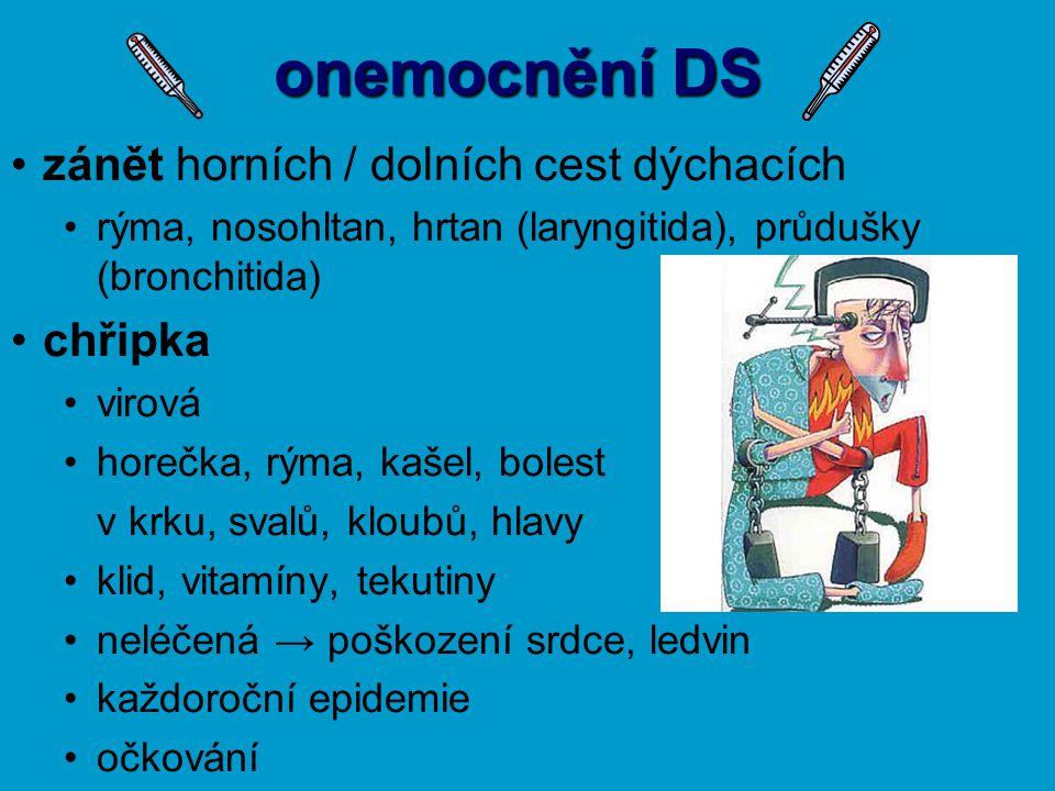 onemocnění DS zánět horních / dolních cest dýchacích rýma, nosohltan, hrtan (laryngitida), průdušky (bronchitida) chřipka virová horečka, rýma, kašel,