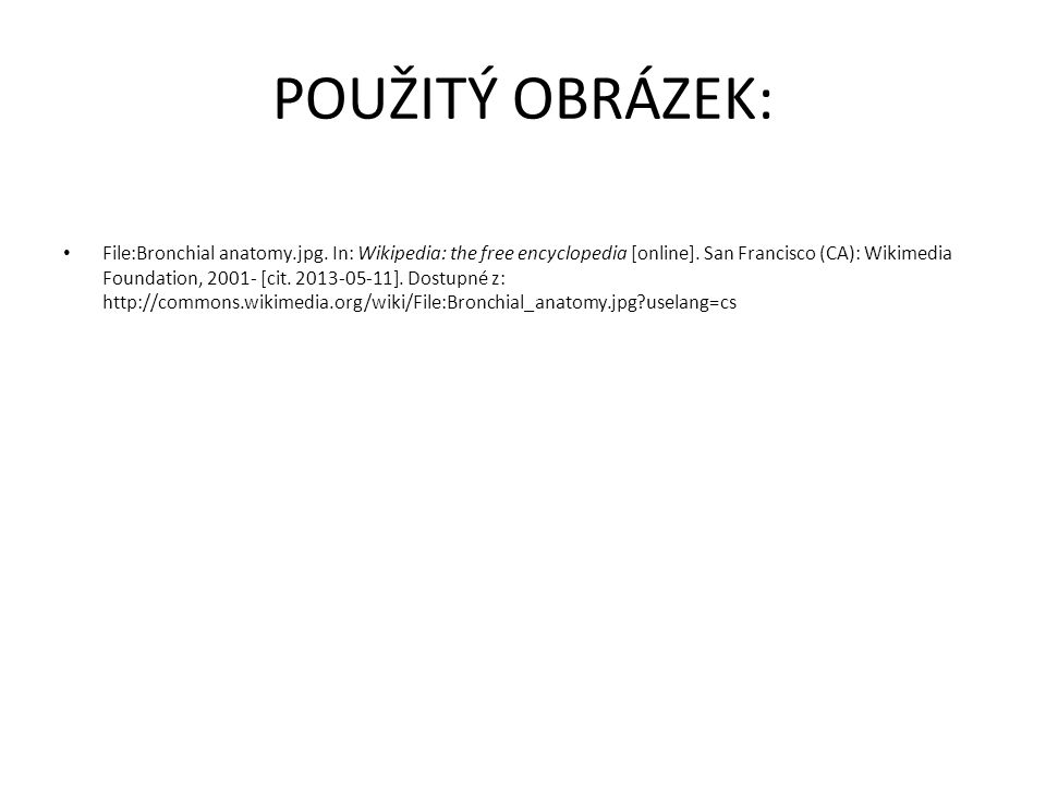POUŽITÝ OBRÁZEK: File:Bronchial anatomy.jpg. In: Wikipedia: the free encyclopedia [online].