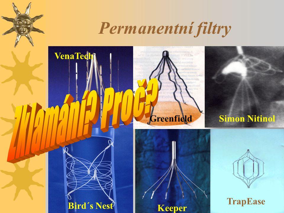 Permanentní filtry VenaTech GreenfieldSimon Nitinol Bird´s Nest Keeper TrapEase