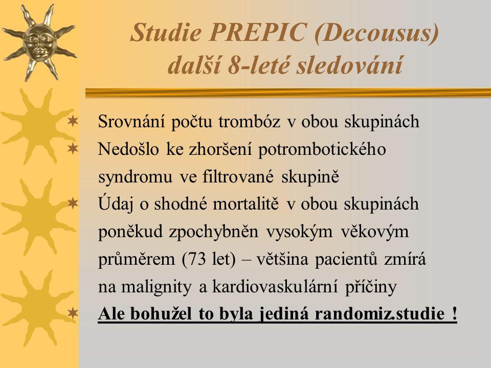Studie PREPIC (Decousus) další 8-leté sledování  Srovnání počtu trombóz v obou skupinách  Nedošlo ke zhoršení potrombotického syndromu ve filtrované