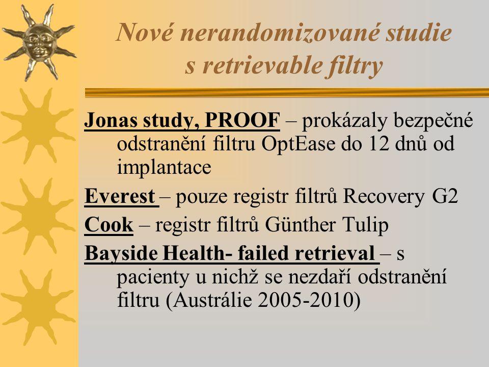 Nové nerandomizované studie s retrievable filtry Jonas study, PROOF – prokázaly bezpečné odstranění filtru OptEase do 12 dnů od implantace Everest – p
