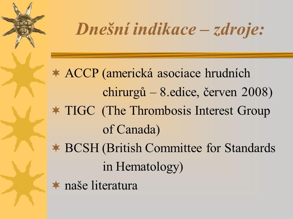 Dnešní indikace – zdroje:  ACCP (americká asociace hrudních chirurgů – 8.edice, červen 2008)  TIGC (The Thrombosis Interest Group of Canada)  BCSH (British Committee for Standards in Hematology)  naše literatura