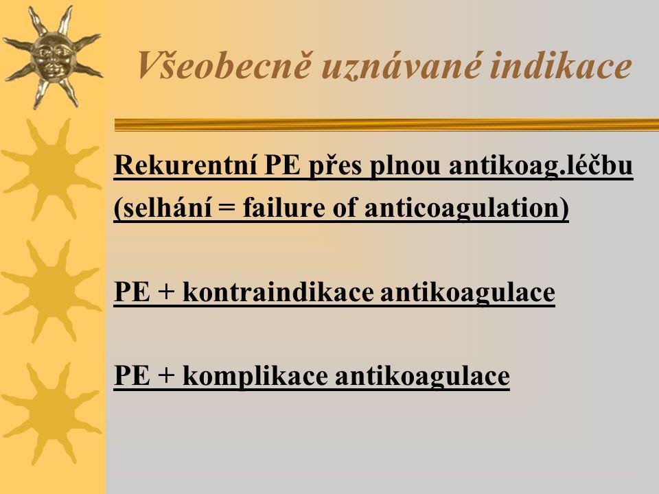 Všeobecně uznávané indikace Rekurentní PE přes plnou antikoag.léčbu (selhání = failure of anticoagulation) PE + kontraindikace antikoagulace PE + komplikace antikoagulace