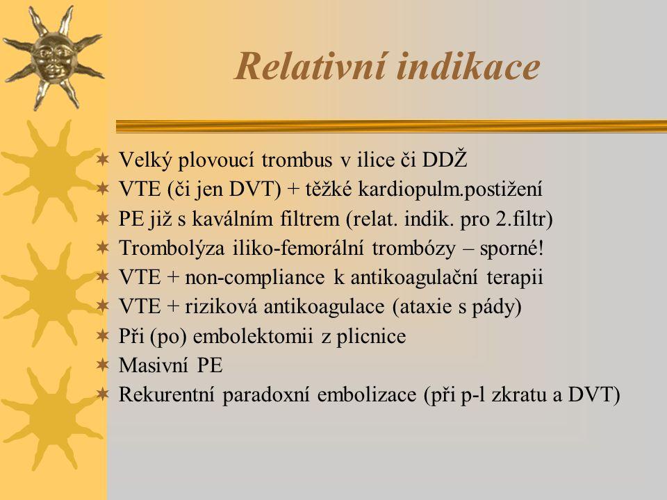 Relativní indikace  Velký plovoucí trombus v ilice či DDŽ  VTE (či jen DVT) + těžké kardiopulm.postižení  PE již s kaválním filtrem (relat.