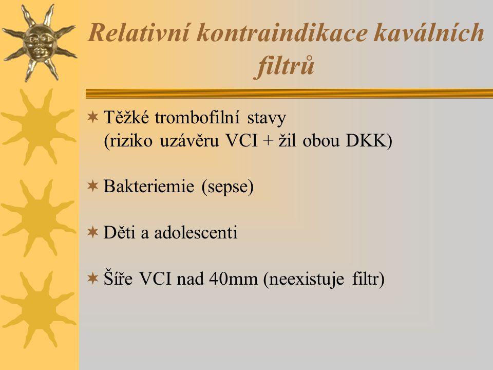 Relativní kontraindikace kaválních filtrů  Těžké trombofilní stavy (riziko uzávěru VCI + žil obou DKK)  Bakteriemie (sepse)  Děti a adolescenti  Šíře VCI nad 40mm (neexistuje filtr)