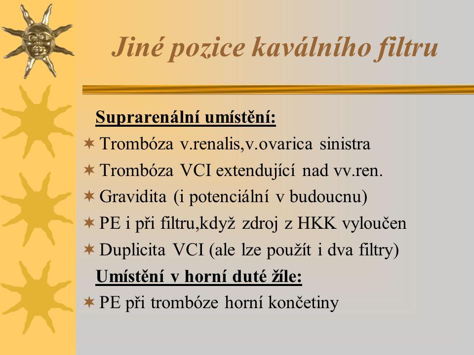 Jiné pozice kaválního filtru Suprarenální umístění:  Trombóza v.renalis,v.ovarica sinistra  Trombóza VCI extendující nad vv.ren.