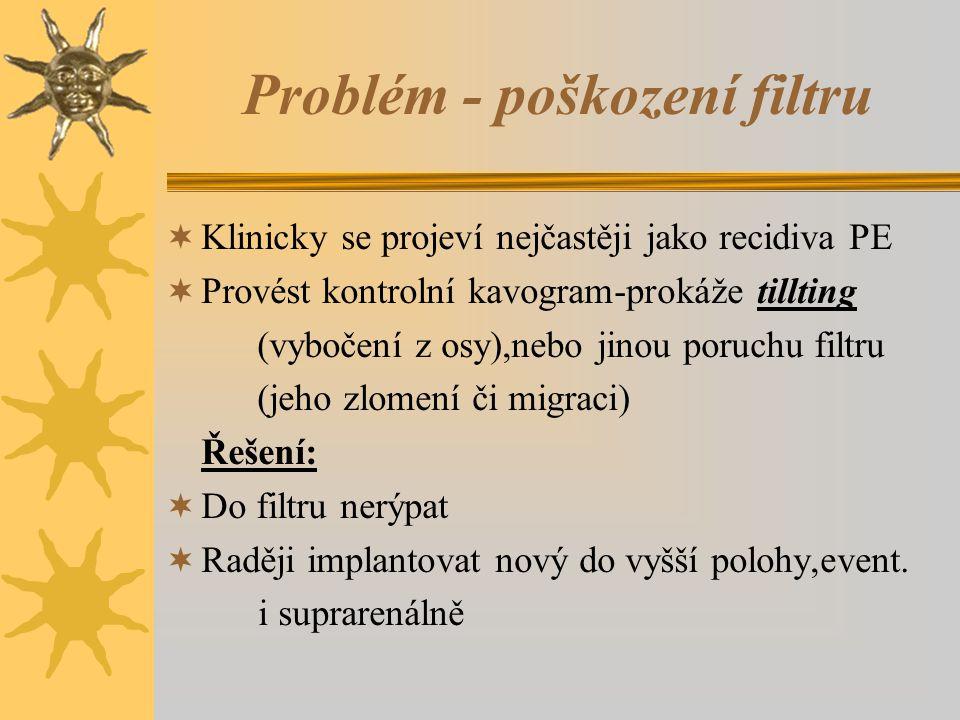 Problém - poškození filtru  Klinicky se projeví nejčastěji jako recidiva PE  Provést kontrolní kavogram-prokáže tillting (vybočení z osy),nebo jinou poruchu filtru (jeho zlomení či migraci) Řešení:  Do filtru nerýpat  Raději implantovat nový do vyšší polohy,event.