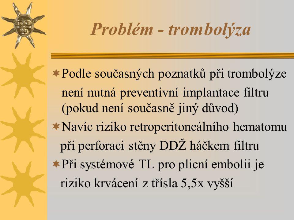 Problém - trombolýza  Podle současných poznatků při trombolýze není nutná preventivní implantace filtru (pokud není současně jiný důvod)  Navíc riziko retroperitoneálního hematomu při perforaci stěny DDŽ háčkem filtru  Při systémové TL pro plicní embolii je riziko krvácení z třísla 5,5x vyšší