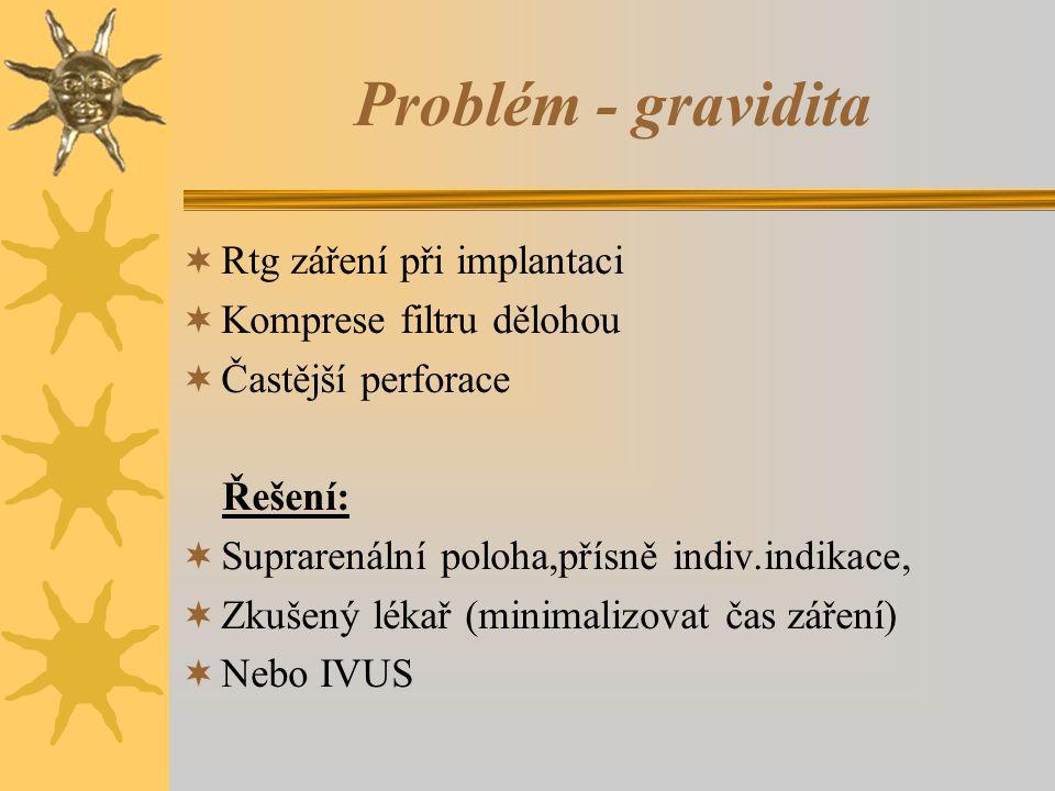 Problém - gravidita  Rtg záření při implantaci  Komprese filtru dělohou  Častější perforace Řešení:  Suprarenální poloha,přísně indiv.indikace,  Zkušený lékař (minimalizovat čas záření)  Nebo IVUS