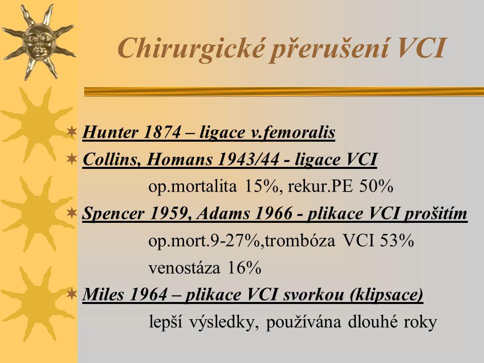 Chirurgické přerušení VCI  Hunter 1874 – ligace v.femoralis  Collins, Homans 1943/44 - ligace VCI op.mortalita 15%, rekur.PE 50%  Spencer 1959, Adams 1966 - plikace VCI prošitím op.mort.9-27%,trombóza VCI 53% venostáza 16%  Miles 1964 – plikace VCI svorkou (klipsace) lepší výsledky, používána dlouhé roky