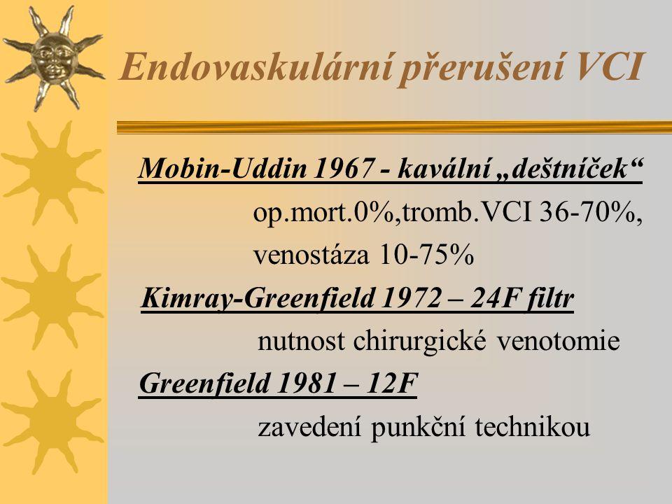 """Endovaskulární přerušení VCI Mobin-Uddin 1967 - kavální """"deštníček op.mort.0%,tromb.VCI 36-70%, venostáza 10-75% Kimray-Greenfield 1972 – 24F filtr nutnost chirurgické venotomie Greenfield 1981 – 12F zavedení punkční technikou"""