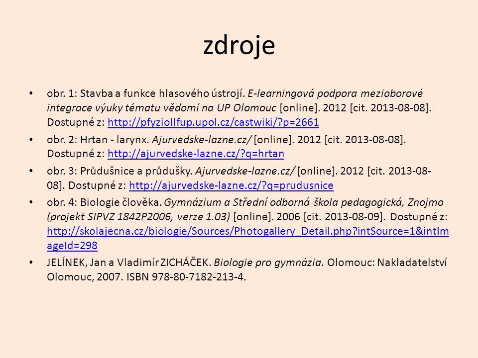zdroje obr. 1: Stavba a funkce hlasového ústrojí. E-learningová podpora mezioborové integrace výuky tématu vědomí na UP Olomouc [online]. 2012 [cit. 2