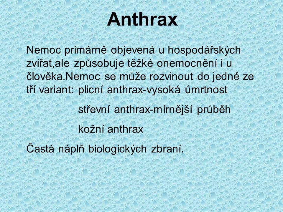 Anthrax Nemoc primárně objevená u hospodářských zvířat,ale způsobuje těžké onemocnění i u člověka.Nemoc se může rozvinout do jedné ze tří variant: plicní anthrax-vysoká úmrtnost střevní anthrax-mírnější průběh kožní anthrax Častá náplň biologických zbraní.
