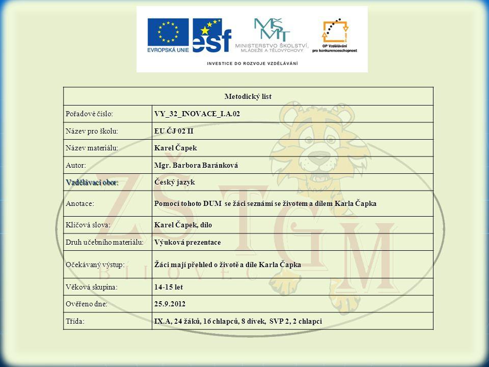 Metodický list Pořadové číslo: VY_32_INOVACE_I.A.02 Název pro školu: EU ČJ 02 II Název materiálu: Karel Čapek Autor: Mgr. Barbora Baránková Vzdělávací