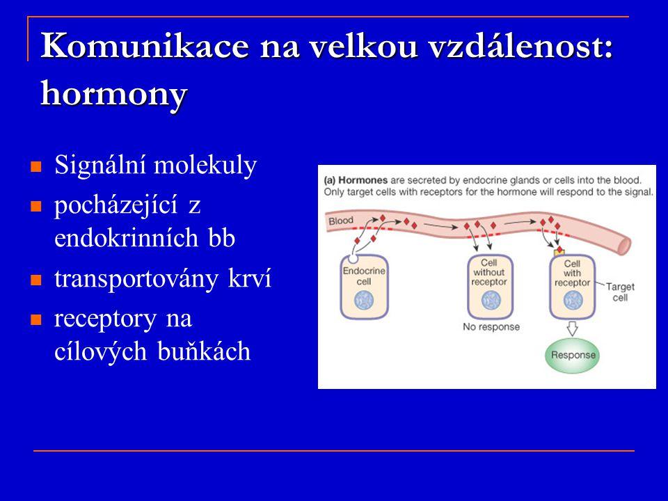 Signální molekuly pocházející z endokrinních bb transportovány krví receptory na cílových buňkách Komunikace na velkou vzdálenost: hormony