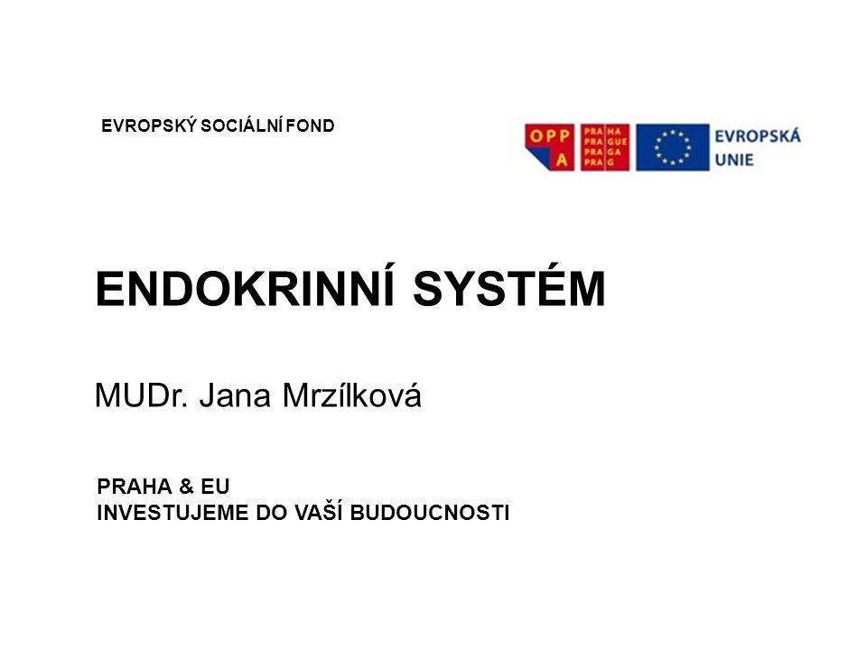 ENDOKRINNÍ SYSTÉM MUDr. Jana Mrzílková EVROPSKÝ SOCIÁLNÍ FOND PRAHA & EU INVESTUJEME DO VAŠÍ BUDOUCNOSTI