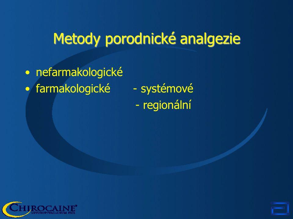 nefarmakologické farmakologické - systémové - regionální Metody porodnické analgezie