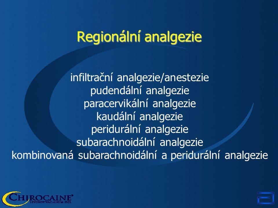 Regionální analgezie infiltrační analgezie/anestezie pudendální analgezie paracervikální analgezie kaudální analgezie peridurální analgezie subarachno