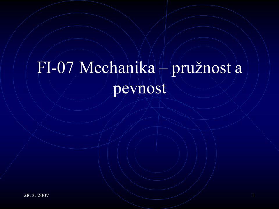 28. 3. 20071 FI-07 Mechanika – pružnost a pevnost