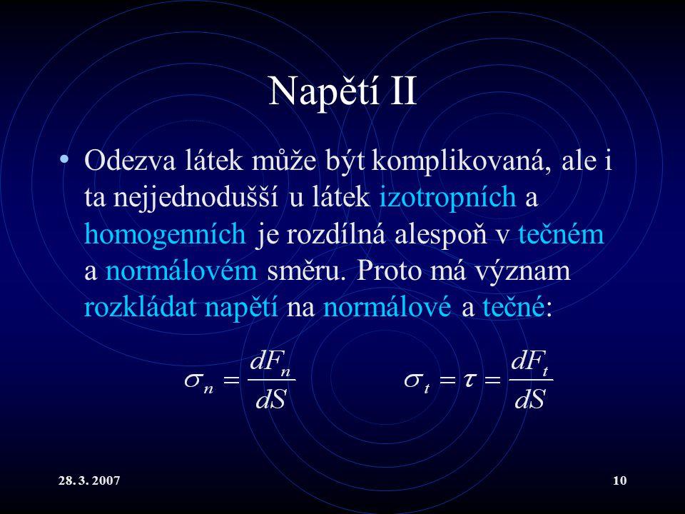 28. 3. 200710 Napětí II Odezva látek může být komplikovaná, ale i ta nejjednodušší u látek izotropních a homogenních je rozdílná alespoň v tečném a no