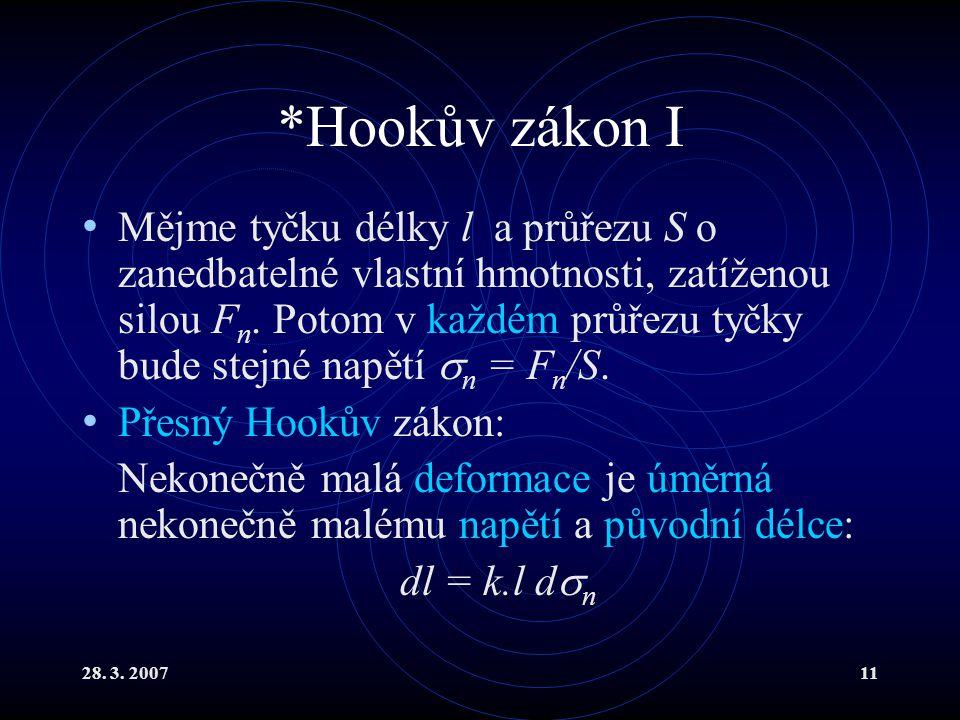 28. 3. 200711 *Hookův zákon I Mějme tyčku délky l a průřezu S o zanedbatelné vlastní hmotnosti, zatíženou silou F n. Potom v každém průřezu tyčky bude