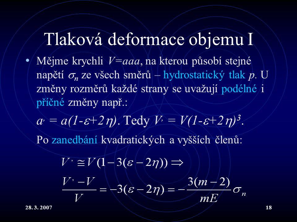 28. 3. 200718 Tlaková deformace objemu I Mějme krychli V=aaa, na kterou působí stejné napětí  n ze všech směrů – hydrostatický tlak p. U změny rozměr