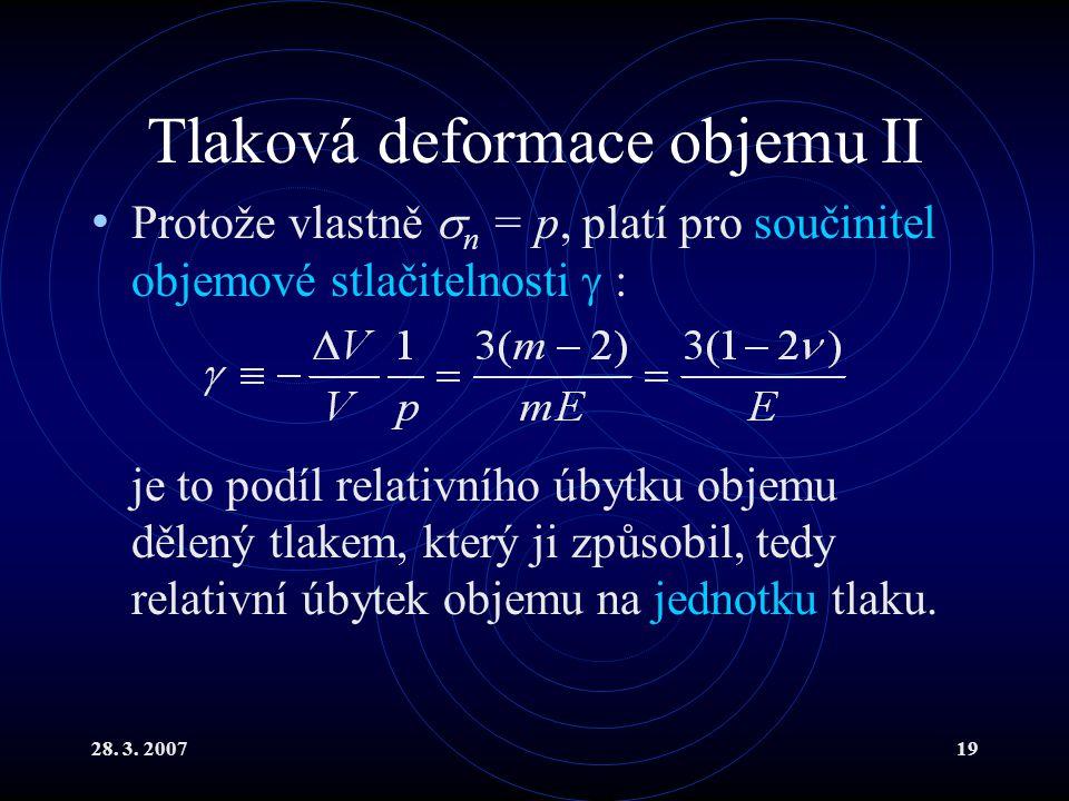 28. 3. 200719 Tlaková deformace objemu II Protože vlastně  n = p, platí pro součinitel objemové stlačitelnosti  : je to podíl relativního úbytku obj