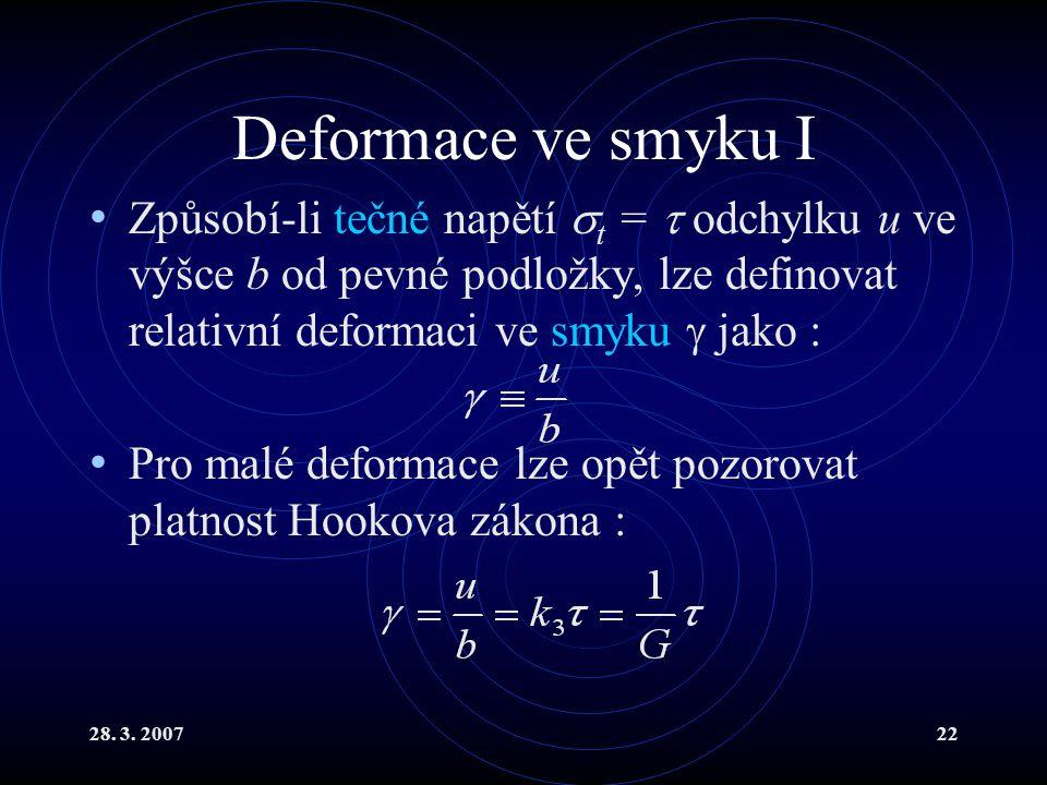 28. 3. 200722 Deformace ve smyku I Způsobí-li tečné napětí  t =  odchylku u ve výšce b od pevné podložky, lze definovat relativní deformaci ve smyku