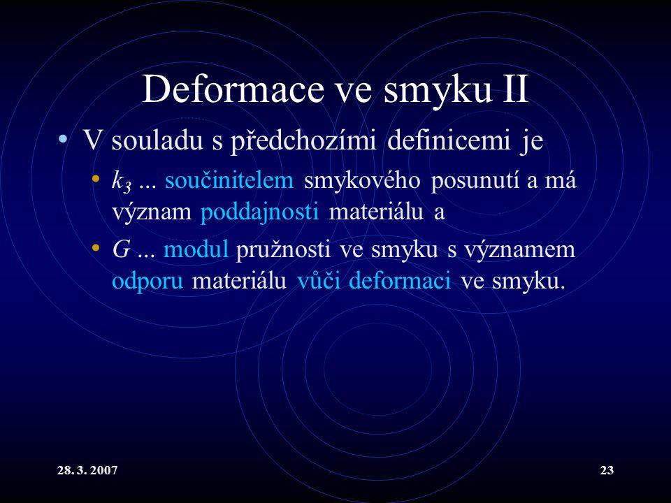 28. 3. 200723 Deformace ve smyku II V souladu s předchozími definicemi je k 3... součinitelem smykového posunutí a má význam poddajnosti materiálu a G