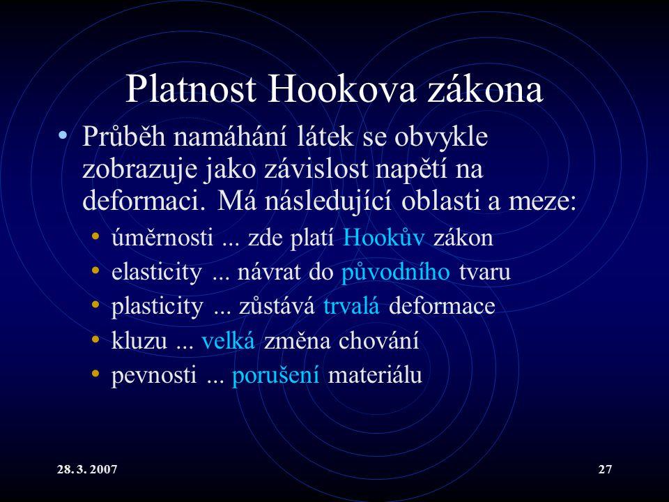 28. 3. 200727 Platnost Hookova zákona Průběh namáhání látek se obvykle zobrazuje jako závislost napětí na deformaci. Má následující oblasti a meze: úm