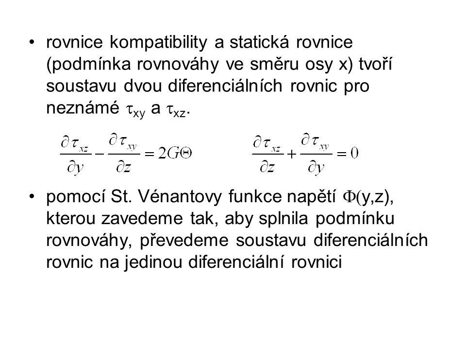 rovnice kompatibility a statická rovnice (podmínka rovnováhy ve směru osy x) tvoří soustavu dvou diferenciálních rovnic pro neznámé  xy a  xz. pomoc