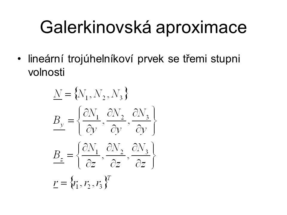 Galerkinovská aproximace lineární trojúhelníkoví prvek se třemi stupni volnosti
