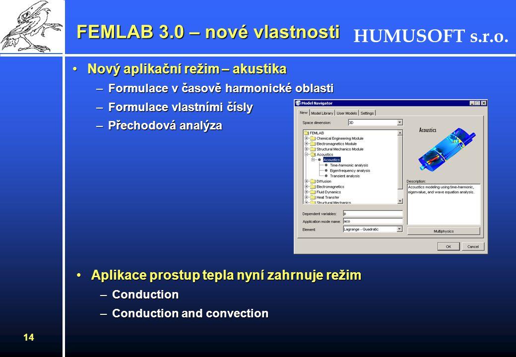 HUMUSOFT s.r.o. 14 FEMLAB 3.0 – nové vlastnosti Nový aplikační režim – akustikaNový aplikační režim – akustika –Formulace v časově harmonické oblasti