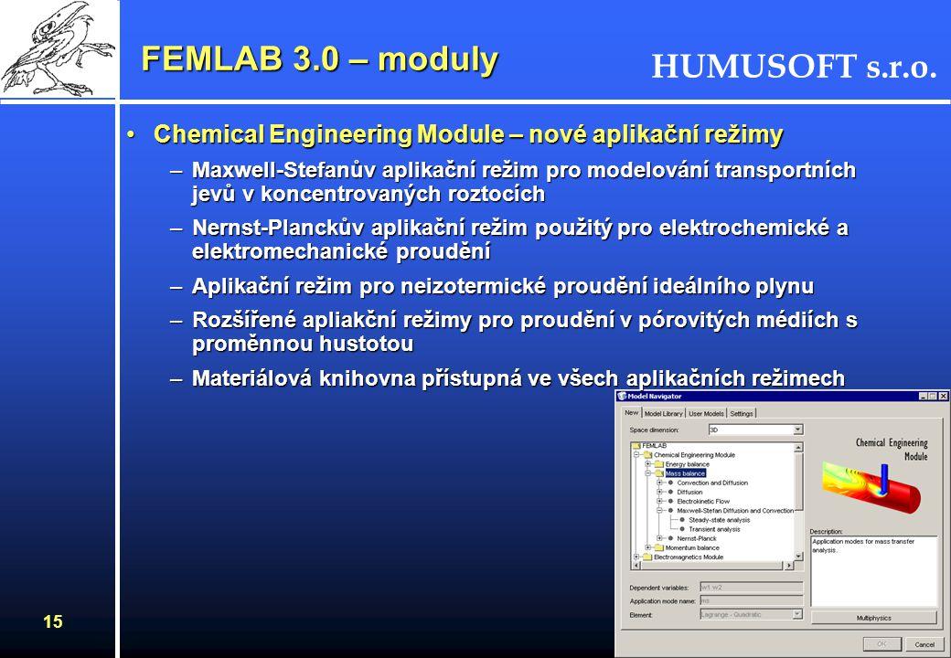 HUMUSOFT s.r.o. 15 FEMLAB 3.0 – moduly Chemical Engineering Module – nové aplikační režimyChemical Engineering Module – nové aplikační režimy –Maxwell