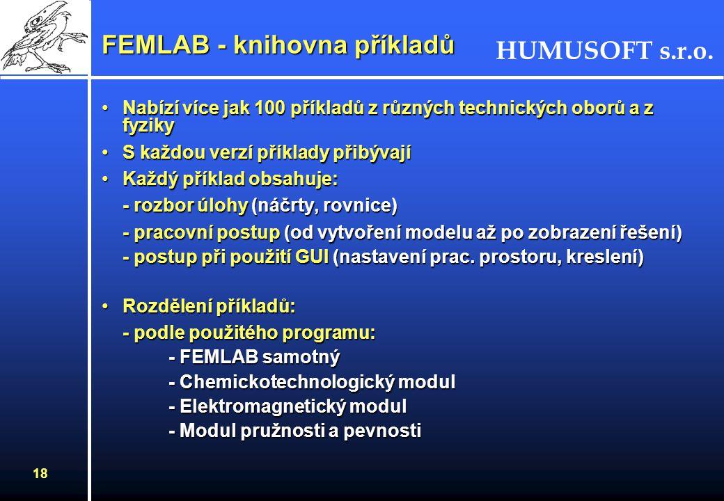 HUMUSOFT s.r.o. 18 FEMLAB - knihovna příkladů Nabízí více jak 100 příkladů z různých technických oborů a z fyzikyNabízí více jak 100 příkladů z různýc