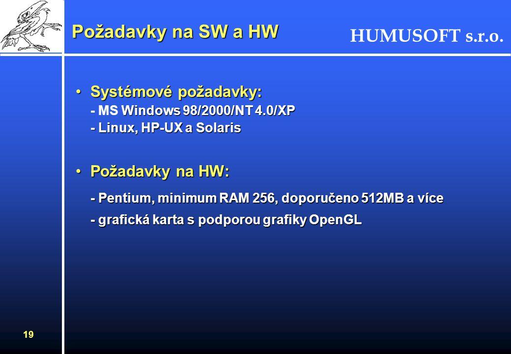 HUMUSOFT s.r.o. 19 Požadavky na SW a HW Systémové požadavky: Windows 98/2000/NT 4.0/XP - Linux, HP-UX a SolarisSystémové požadavky: - MS Windows 98/20