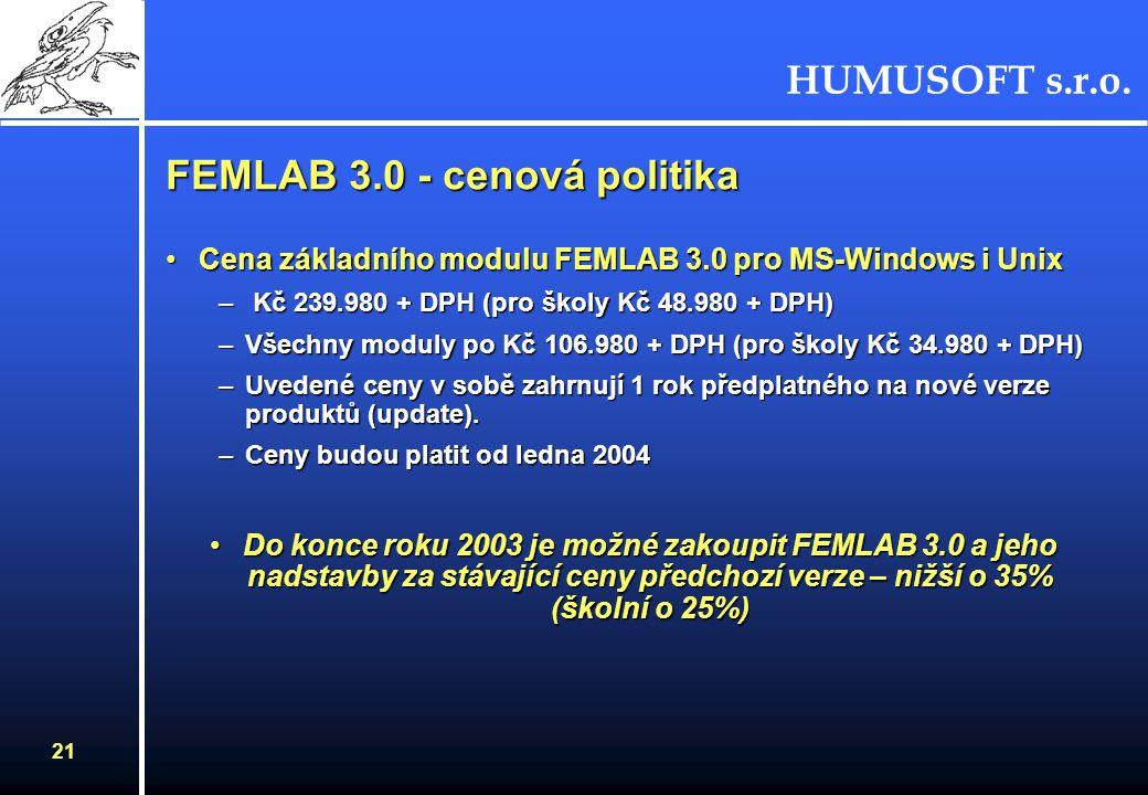 HUMUSOFT s.r.o. 21 Cena základního modulu FEMLAB 3.0 pro MS-Windows i UnixCena základního modulu FEMLAB 3.0 pro MS-Windows i Unix – Kč 239.980 + DPH (