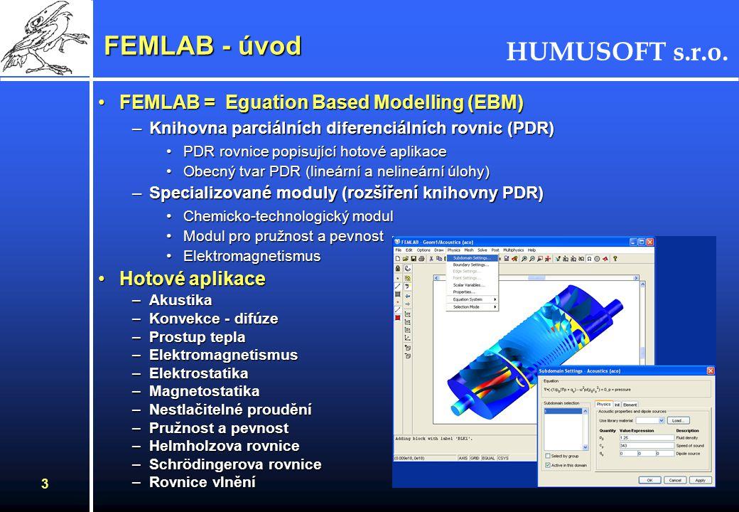 HUMUSOFT s.r.o. 3 FEMLAB - úvod FEMLAB = Eguation Based Modelling (EBM)FEMLAB = Eguation Based Modelling (EBM) –Knihovna parciálních diferenciálních r