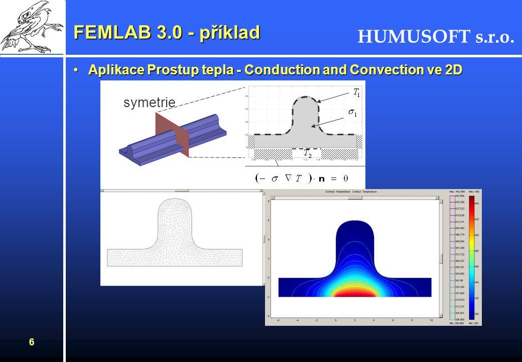 HUMUSOFT s.r.o. 6 FEMLAB 3.0 - příklad Aplikace Prostup tepla - Conduction and Convection ve 2DAplikace Prostup tepla - Conduction and Convection ve 2